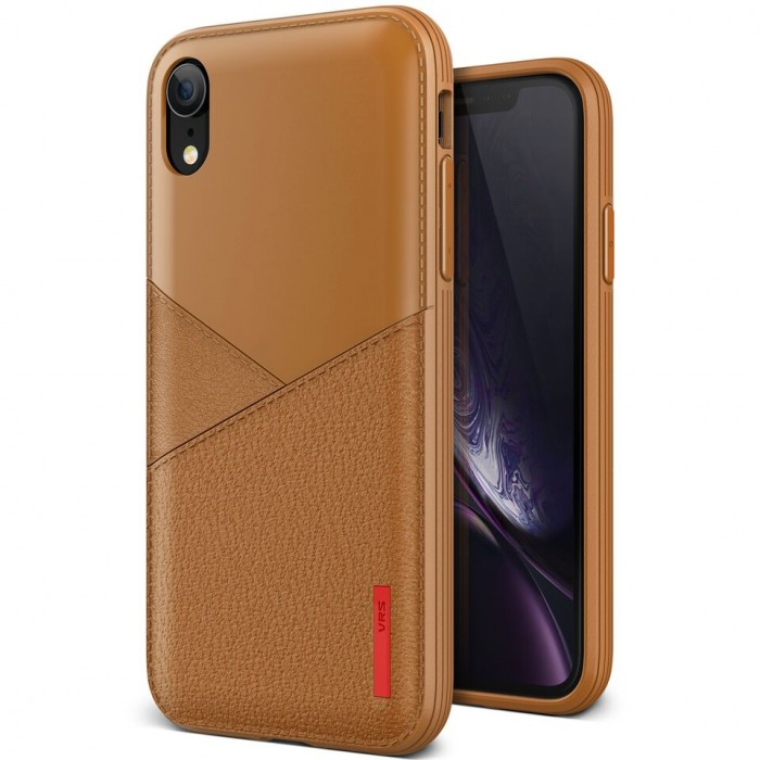VRS Design Leather Fit Case for iPhone XR - Brown