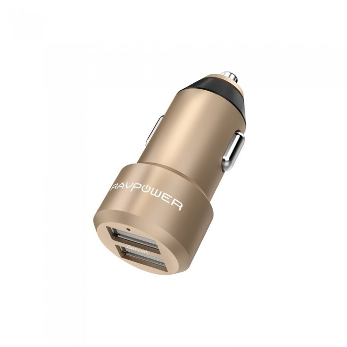 RAVPower Mini Car Charger 2-Port 24W 4.8A Gold