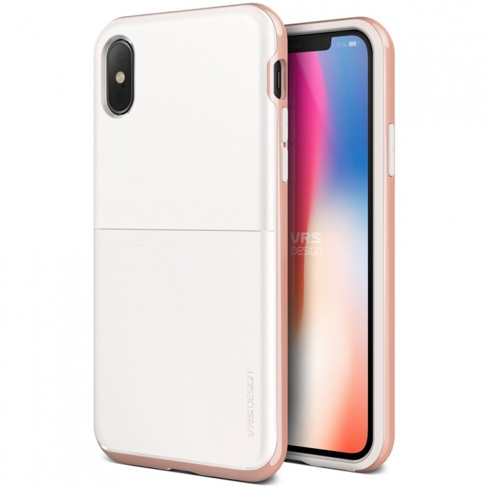VRS Design High Pro Shield Case for iPhone X - White & Rose Gold
