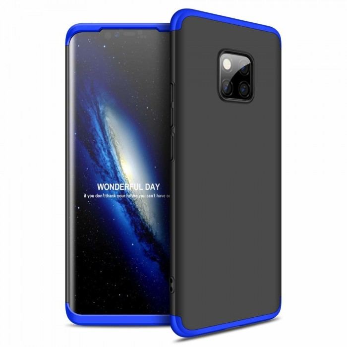 GKK 360 Protection Front and Back Case Full Body for Huawei Mate 20 Pro - Black & Blue