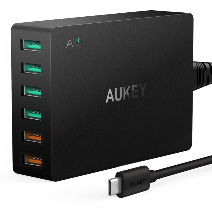Aukey 6-Port Wall Charger with 2xQC 3.0 Ports - 60W