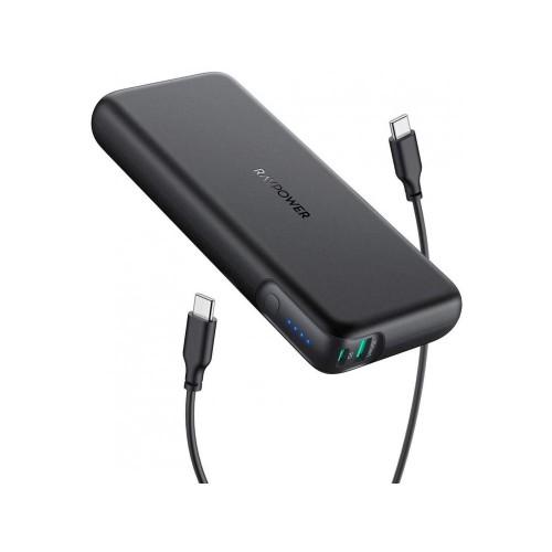 RAVPower Pioneer 20.000 mAh 60W USB-C PD + QC - Black