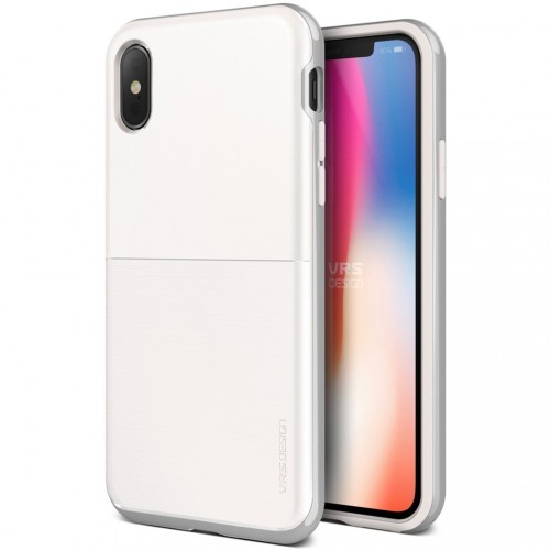 VRS Design High Pro Shield Case for iPhone X - White & Silver
