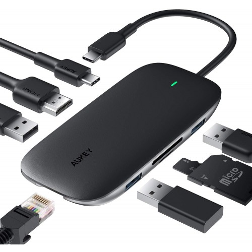 Aukey CB-C71 8-in-1 USB C Data Hub - HDMI/4K + LAN + 3xUSB3.0 + SD/TF Card Reader + 100W PD Charging
