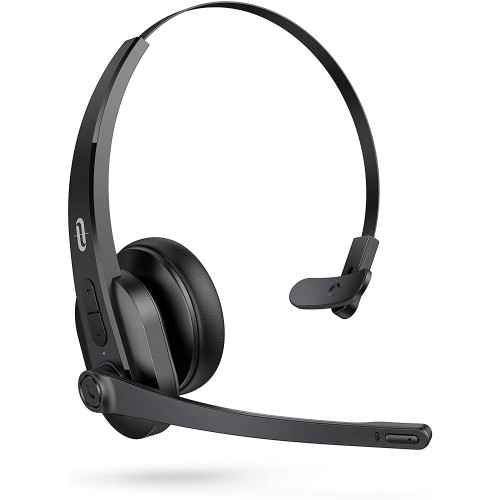 TaoTronics Trucker Bluetooth 5.0 Headset with AI Auto Noise-cancelling Microphone - Black