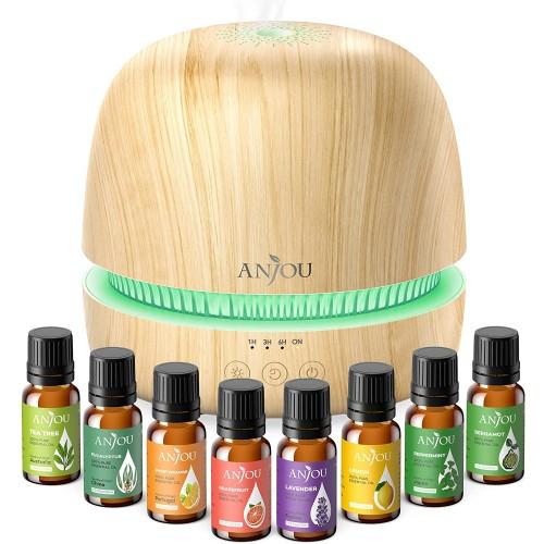 Anjou 300ml Essential Oil Diffuser & 8x5ml Essential Oils - Brown