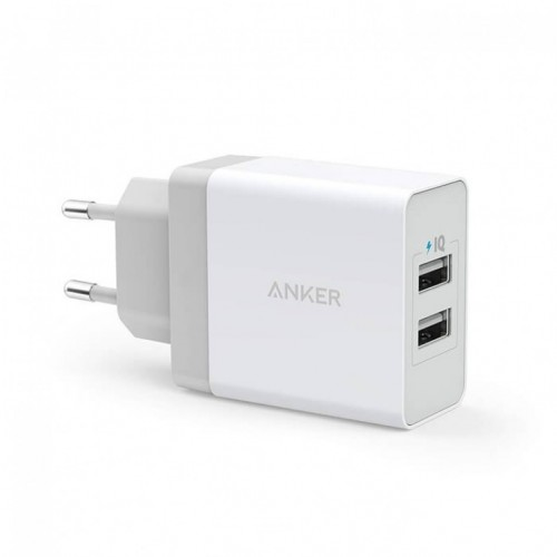 Anker 2-Port USB Charger 24W White + micro usb cable