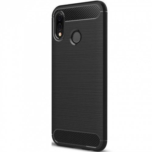Carbon Case Flexible Cover TPU Case for Huawei P20 - Black