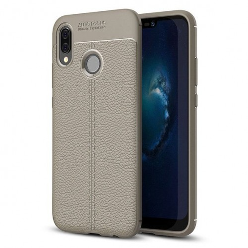 Litchi Texture Back Cover for Huawei P20 Lite - Gray