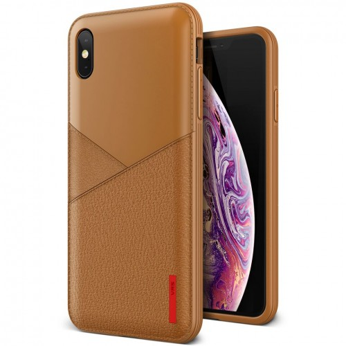VRS Design Leather Fit Case for iPhone Xs Max - Brown